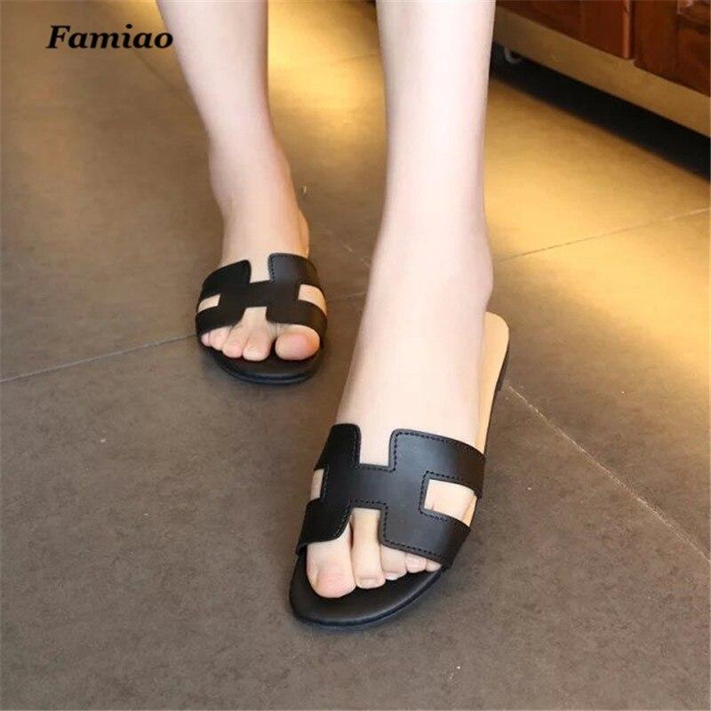 a0a8f46677d10 women Slippers summer pu slides flip flops sexy Classic mature flat ...