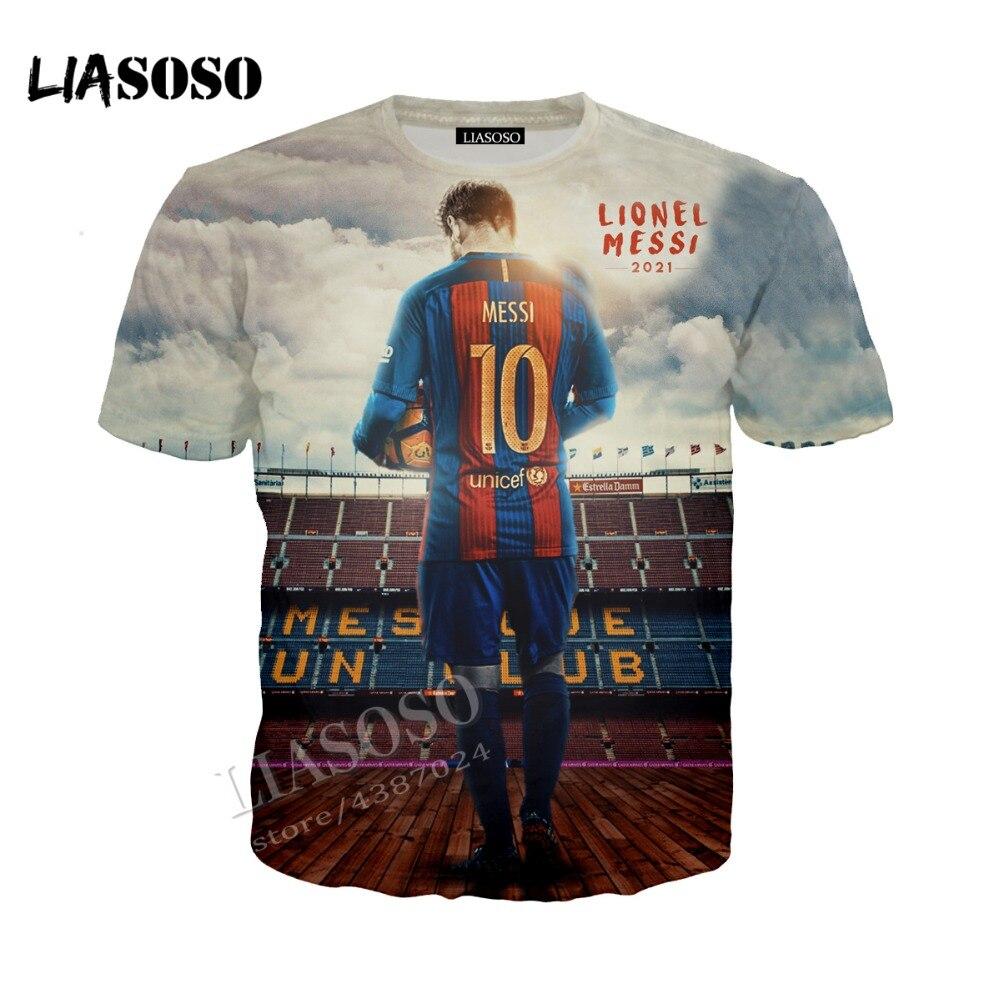 LIASOSO latest 3D printed comfortable polyester T-shirt football star Messi T shirt casual Tshirt men women Tees CX219