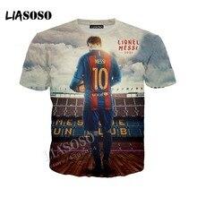 d01cf1e2e LIASOSO latest 3D printed comfortable polyester T-shirt football star Messi T  shirt casual Tshirt