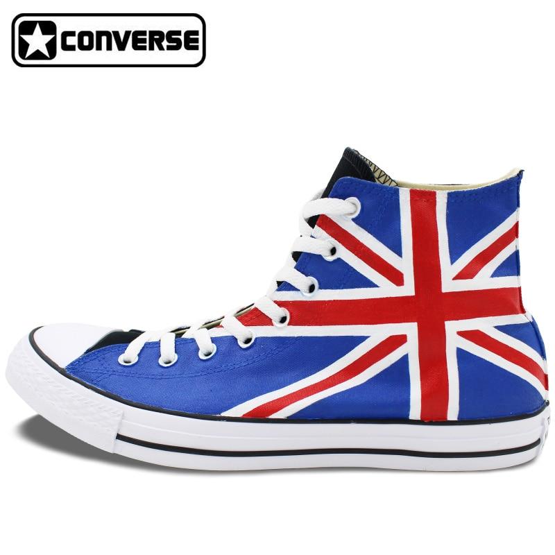 Prix pour Homme Femme Converse All Star Hommes Femmes Chaussures Royaume-Uni Drapeau Union Jack Design Original Peint À La Main Chaussures High Top Toile Sneakers Cadeaux