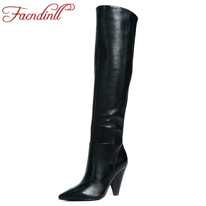 FACNDINLL brand shoes cow leather+pu knee high boots for women sexy pointed toe riding boots high heels winter snow boots women daidiesha knee high boots embroidery genuine pu leather women boots in winter square high heels boots sexy pointed toe shoes
