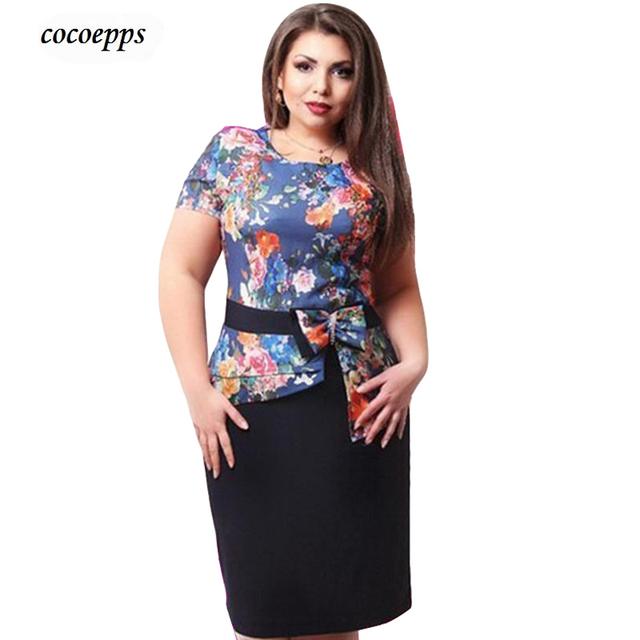 Plus size dress vestidos femininos mujeres dress verano de oficina de gran tamaño vestidos patchwork mujeres pencile viste vestidos de fiesta