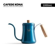 Kleurrijke koffie pot Hoge capaciteit drip koffie waterkoker rvs brouwen koffie/thee maker lange mond 1L houten handvat