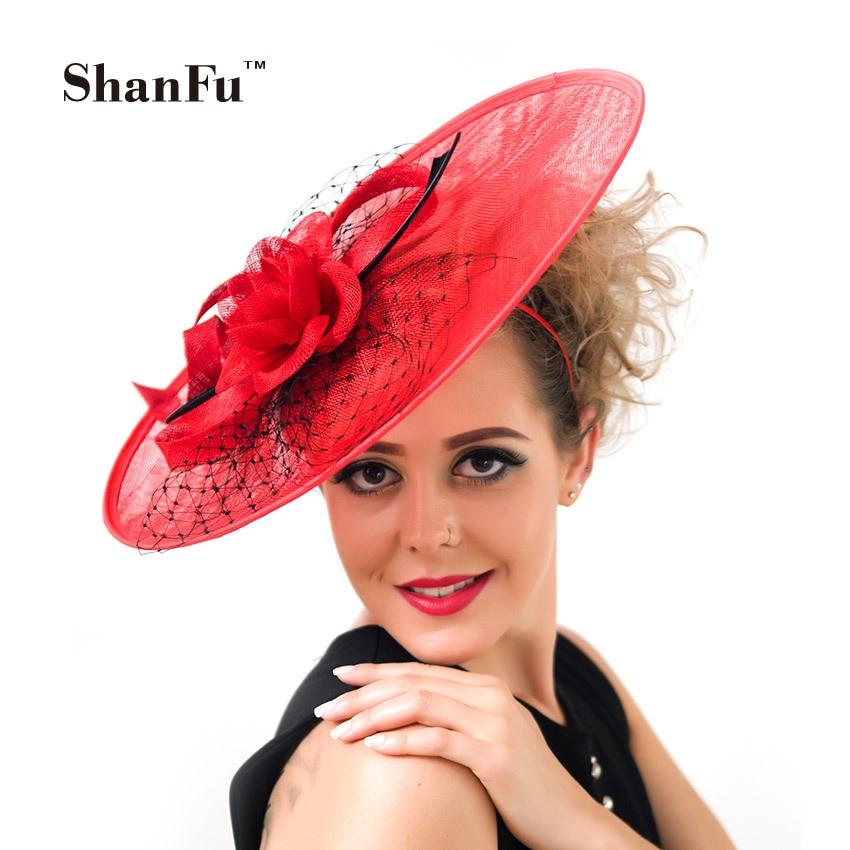 ShanFu Lady Large Sinamy Headband Derby Fascinator Hat Sagittate Feather netting Headpiece Fashion Girl Cocktail Hat C12432 headpiece