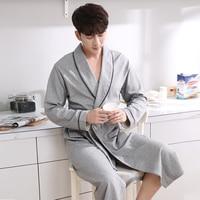 2017 High Quality Cotton Terry Robes For Men Kimono Bath Robe Sleepwear Mens Lounge Nightgown Long