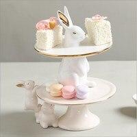 Nordic cute rabbit fruit plate cake plate snack plate creative model room restaurant coffee table desktop storage tray