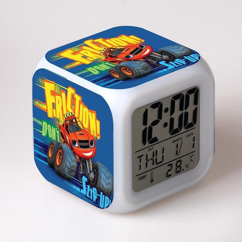 Blaze ve Canavar Makineleri Bebek Oyuncak Çalar Saat ile Yanıp Sönen LED Renk Işık Brinquedo Çocuklar Için Çocuk Doğum Günü Hediyesi