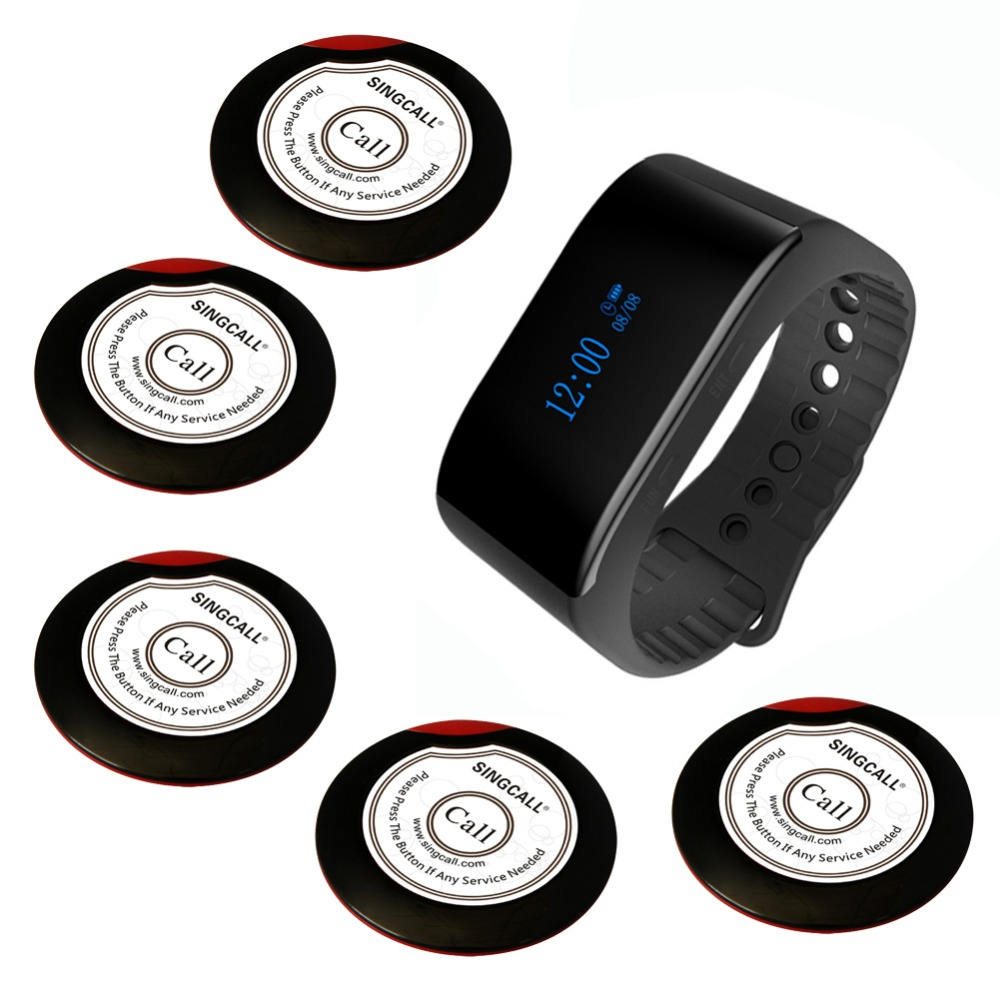SINGCALL wireless restaurant service calling system pager coaster 1 new bracelet watch and 5 ultrathin single call buttons 2 receivers 60 buzzers wireless restaurant buzzer caller table call calling button waiter pager system