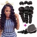 Mocha hair 8a não transformados brasileiro onda solta 3 pacotes com fecho brasileira pacotes tecer cabelo humano beleza cabelo withclosure