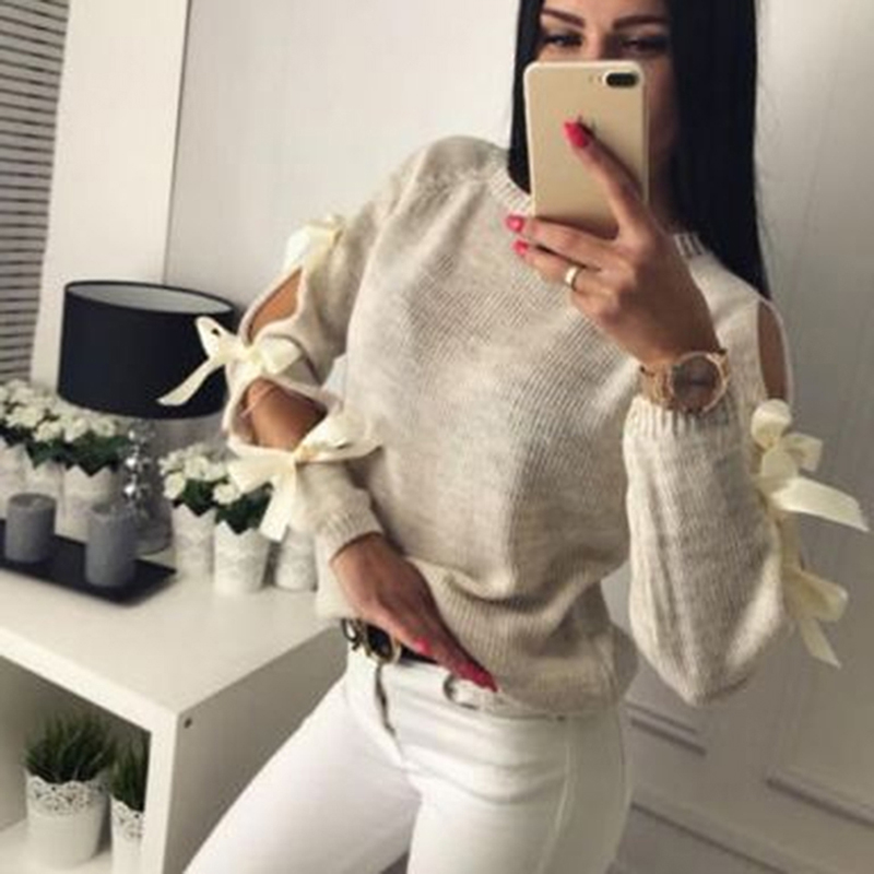 Sexy Hollow out Long sleeve Warm Knitting Sweater Pullover Women Bow Loose O-Neck Tops Knitwear jumper pull femme  streetwear