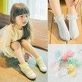 1.19 $ / 1 pares Lace Ruffle folhos tornozelo meias princesa meias de algodão de cor meias 6 cor 1-8yers