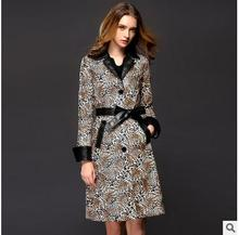 Slim Trench Coat For Women Autumn Windbreaker Long Section Coats  Female Elegant Leopard Trench Womens Clothes With Belt J1647-8