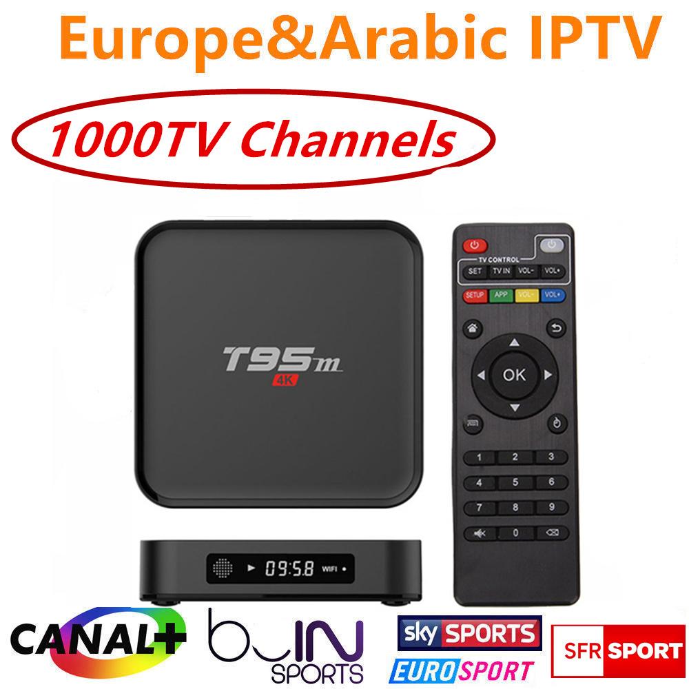 Prix pour Quad Core S905 Android 6.0 TV Box T95M avec 1 Année Europe français Arabe IPTV iprotv Compte 1300 En Direct TV Canal plus test Gratuit