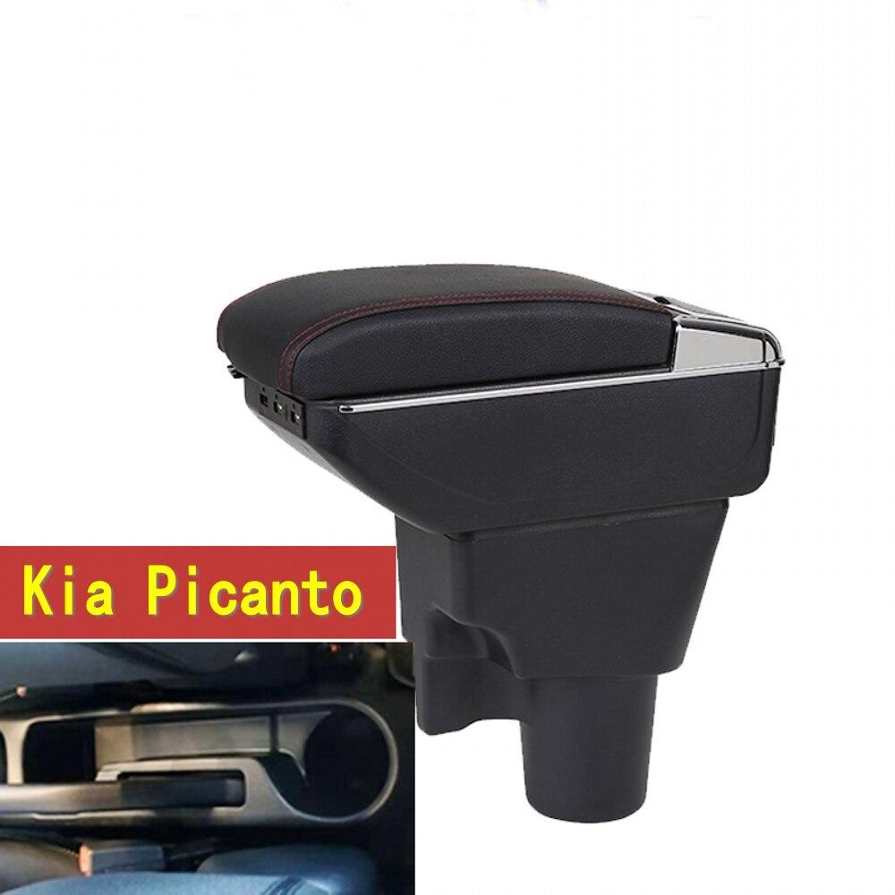 Pour Kia Picanto boîte Accoudoir central Magasin contenu Picanto accoudoir boîte avec porte-gobelet cendrier avec interface USB