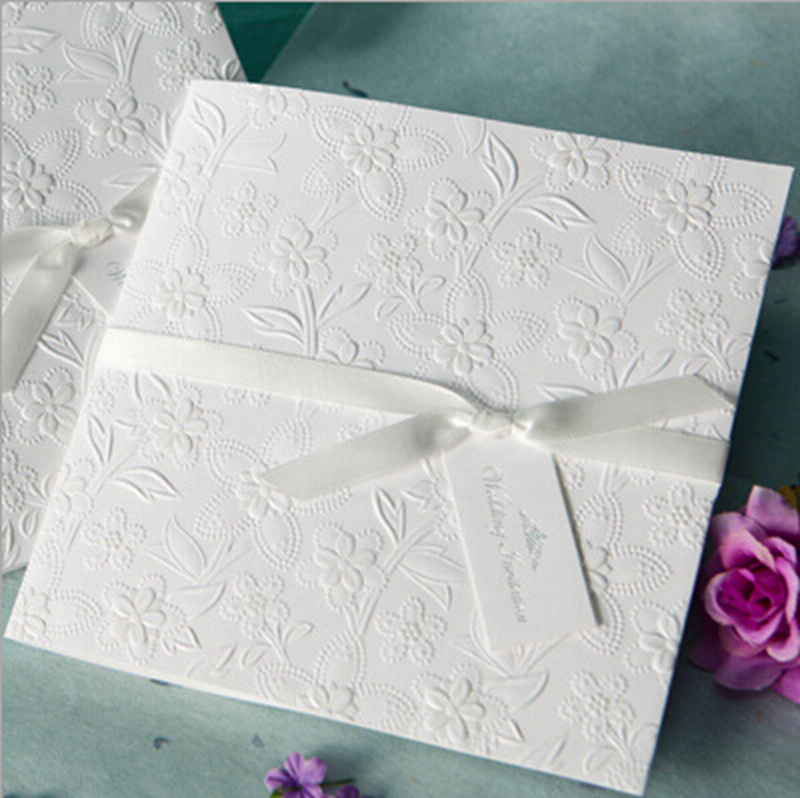 100pcs white flower bow wedding invitation cards printable customizable w1109