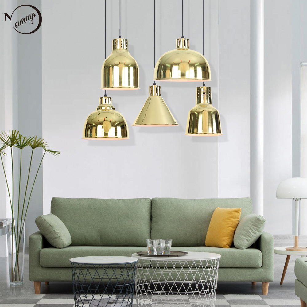 Modern iron plated minimalist gold pendant lamp E27 220V LED novelty hanging light fixture bedroom living room kitchen hotel bar vintage colorful minimalist cement hanging pendant lamp 220v e27 led light with switch lighting fixture for hallway bar bedroom