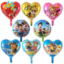 50pcs/lot Wholesale 18 inch PAW Patrol foil balloons Hand Sticks Cartoon Figure Ballons Birthday party decor shower Kids toys(China)