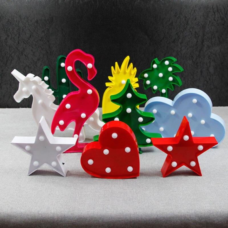 1 Pz/lotto Flamingo Ha Condotto La Luce di Notte Del Fumetto Unicorn Testa Ananas Lanterna Decorazione Di Nozze Di Natale Tropical Party forniture