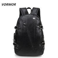 VORMOR Fashion Casual Brand Leather Mens Travel Backpacks Cool Multifunctional Laptop Backpacks Mens Backpack Bag Male