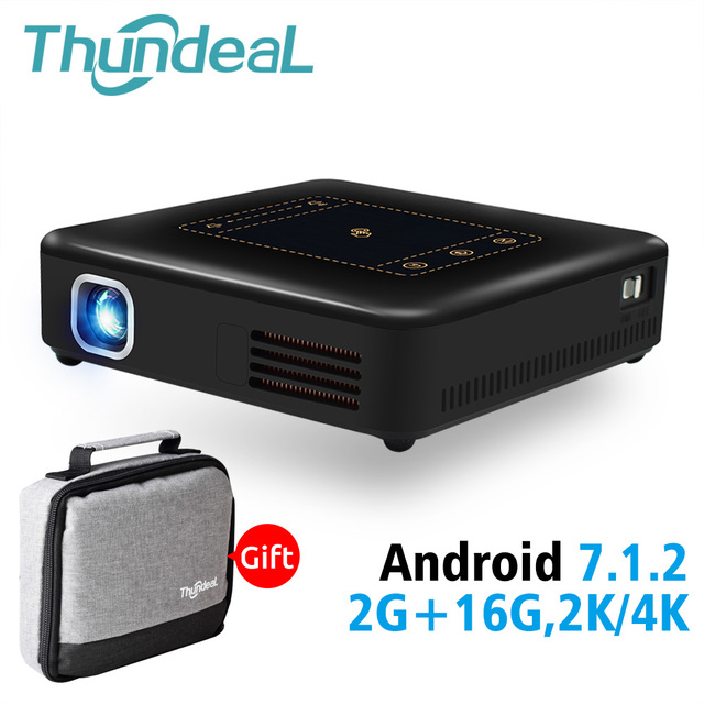 ThundeaL Android 7.1 Projector T20 Pico DLP 3D LED Projector TouchPad WiFi Bluetooth Mini Support 4K Beamer Battery Home Theater