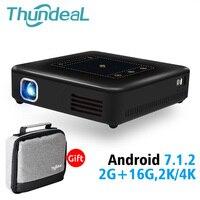 ThundeaL Android 7,1 проектор T20 Пико DLP 3D светодиодный проектор TouchPad Bluetooth, Wi Fi мини Поддержка 4 K аккумулятор видеопроектора дома Театр