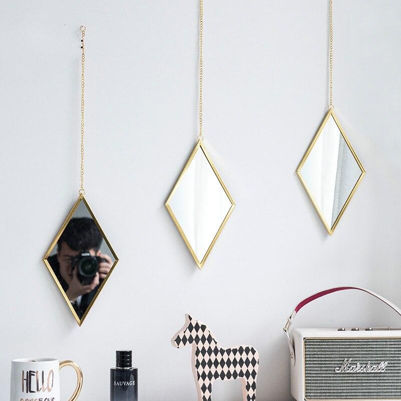 Metal Glass Hanging Decorative Mirror, Toilet, Bedroom, Bathroom Vanity Mirror, Mirror Art Background Mural, Two Styles Optional