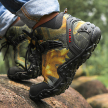 Waterproof canvas hiking shoes boots Anti-skid Wear resistant breathable fishing shoes  climbing high shoes