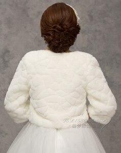 Image 5 - 2020 inverno noiva envoltórios de pele do casamento, jaqueta bolero de noiva baratos, tampas xale, tamanho grande, jaquetas de casamento, bolero de pele falsa