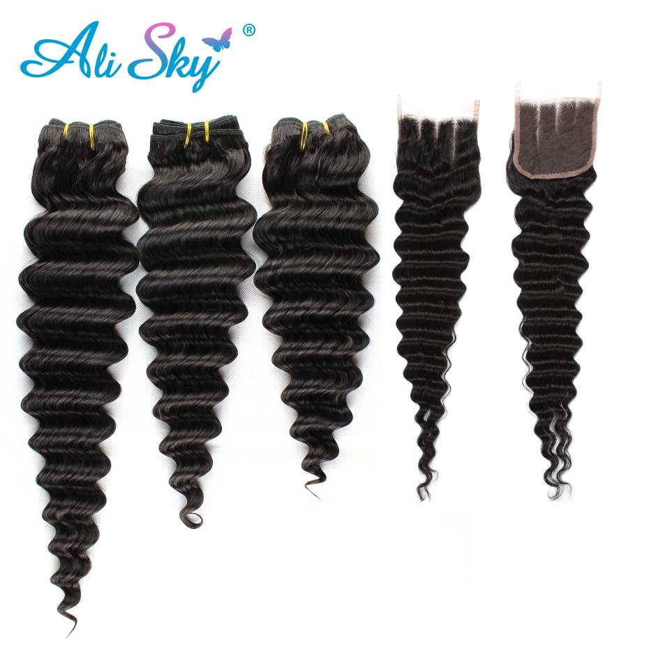 Deep Wave 3 Bundles With Closure Malaysian Human Hair Bundles And Closure With Bundles H ...