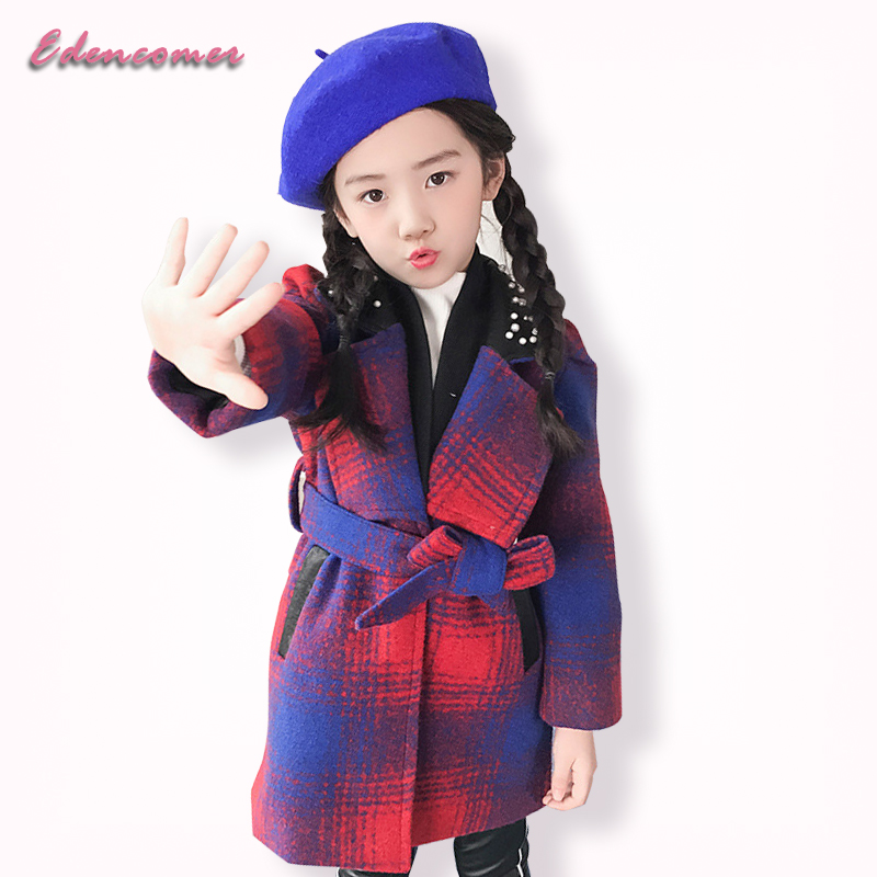 Wool Coat for Girls 2017 Autumn and Winter Fashion Baby Girl Child Lapel Plaid Jacket Blends Purple Long Coats Fur Cardigan