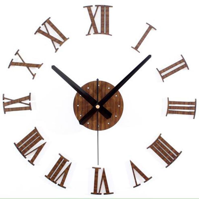 vintage wood texture 3d roman numeral clock,home decoration wall