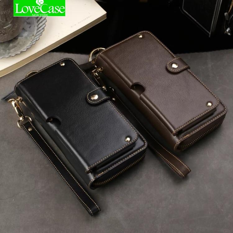 LoveCase Universel Mltifunction En Cuir Portefeuille Poche Téléphone Sac Pour iphone X 6 s 7 8 plus Réel en cuir Cas Prend En Charge 1-6.5 pouce