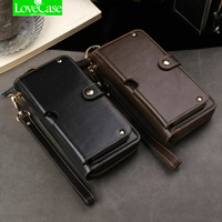 LoveCase Universal Mltifunction Leather Wallet Pouch Phone Bag For iphone X 6S 7 8 plus Real leather Case Supports 1 6.5 inch