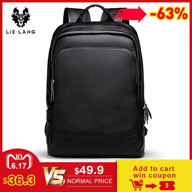 LIELANG sac à dos homme Simple haute qualité en cuir sac à dos homme en cuir mode tendance jeunesse loisirs voyage sac d'ordinateur