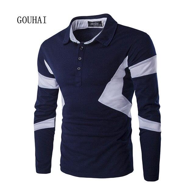 2016 Модный Бренд Мужчины Polo Рубашка С Длинным Рукавом Slim Fit Рубашки Мужчины Хлопок Polo Рубашки Лоскутные Повседневный Дышащий