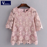 Lace Blouse Women Elegant Floral Pattern Pearl Beading Tops O Neck Short Sleeve With Lining Blouses