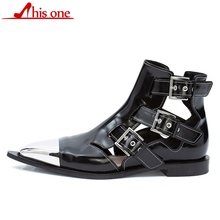 Runway Rivets Genuine Leather Cut Outs Ankle Boots Women Metal Pointed Toe Square Med Heels Shoes Woman Belt Buckle Short Boots