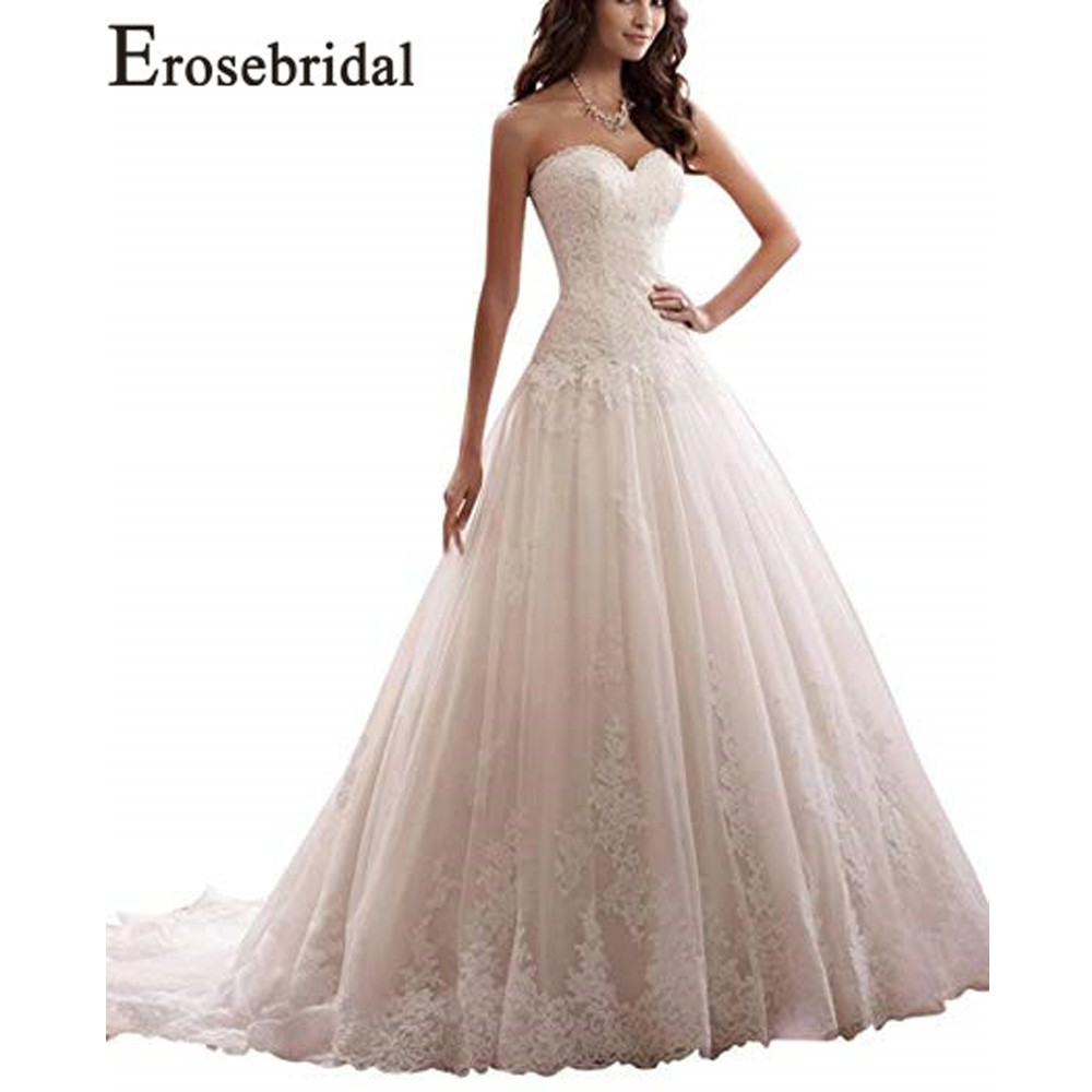 Erosebridal New Arrival Cheap Wedding Dresses 2019 Tulle Wedding Gowns Strapless Women Bridal Dress Simple Vestidos
