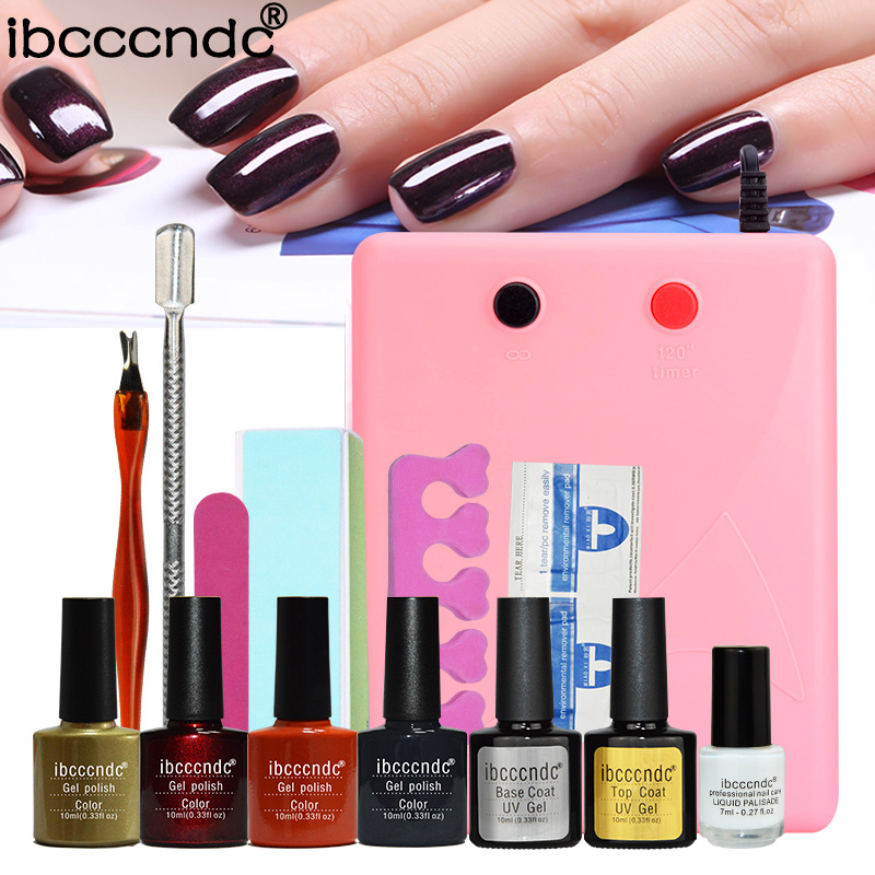 Nail Gel Polish Tools Pro 36W UV Lamp + 4 Colors Gel Varnishes Base and Top Coat Nail Art Kits Manicure Set with Polish Remover 20pcs gel nail primer top coat and base coat magnetic gel cat s eyes gel nail gelfor uv gel polish best on 15ml nail sticker
