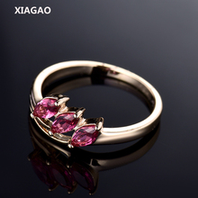 XIAGAO Trendy Leaf Shaped Ring 3pcs Classic Pear Cut Cubic Zirconia Crystal Gold-color Rings Christmas Gift For Women