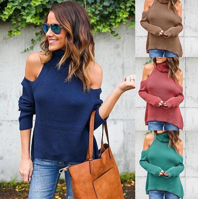 Good Quality New 2017 Autumn Winter Women Tops Sexy Casual Vintage Thread High-necked Women Sweater Off Shoulder Tops Vestidos