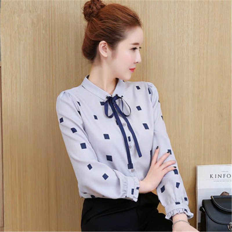 كبير حجم النساء قميص الربيع الخريف عارضة حجم كبير الإناث قميص فضفاض Poika دوت فراشة كم الشيفون قميص الترفيه TopJ549