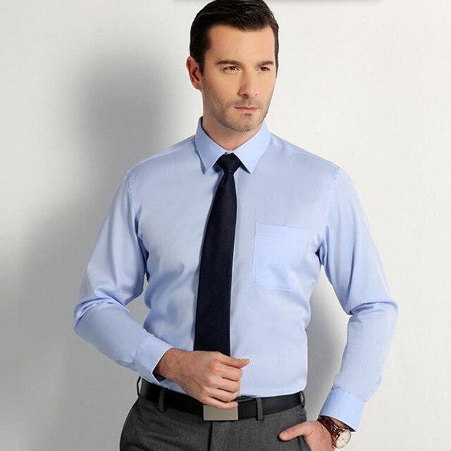 Сорочки для мужчин с длинным рукавом деловые костюмы чистый цвет индивидуальные жених рубашка белый простой мода формальные рубашки