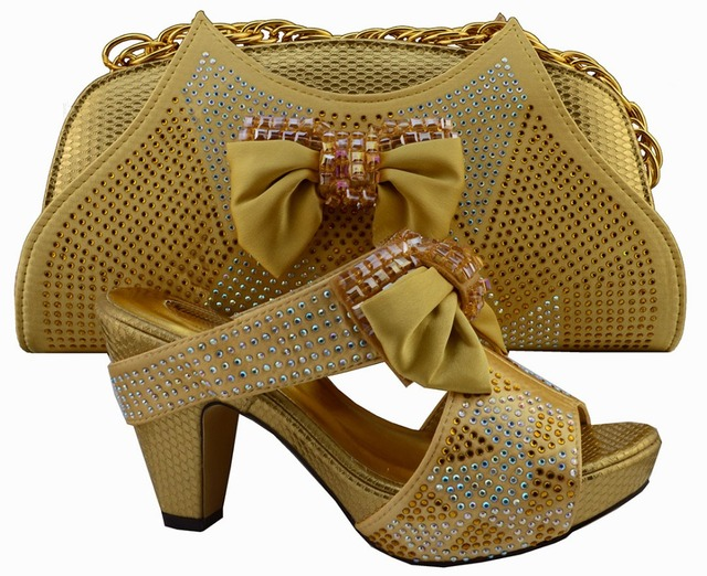 Nice Looking Italian Matching Shoe And Bag Sets For Party Wedding Gold African