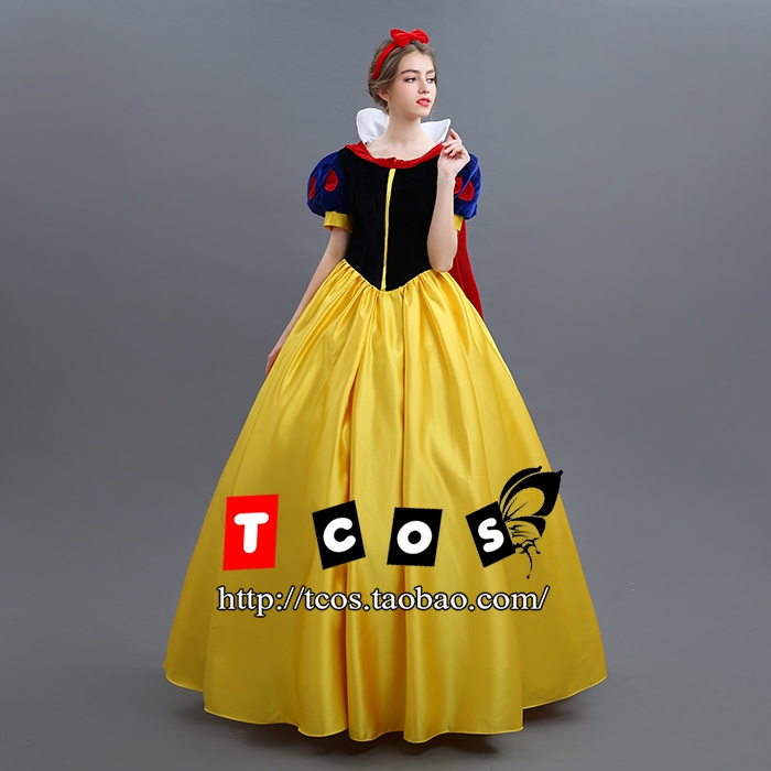 Women Adult Halloween Cartoon Princess Snow White Costume For Sale white snow princesplay Shiny Gown Cinderella Dress Cosplay Co