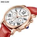 MEGIR модные женские часы с кожаным ремешком  Топ бренд  роскошные женские кварцевые наручные часы  календарь для любимых хронографов
