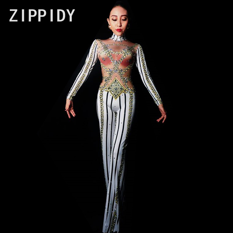 Glisten Stones Chains Stripe Printed Sexy Jumpsuit Loose Pant Rompers Nightclub Women s Prom Party Show