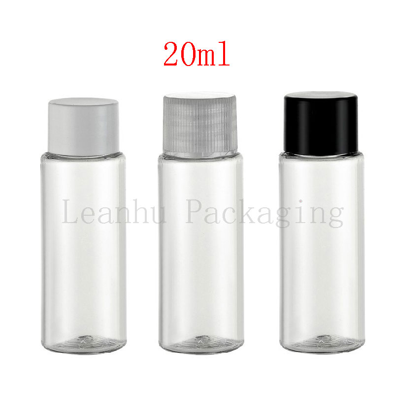 20ml X 100 empty transparent PET plastic small containers bottle with lid cap 20cc cosmetic oil