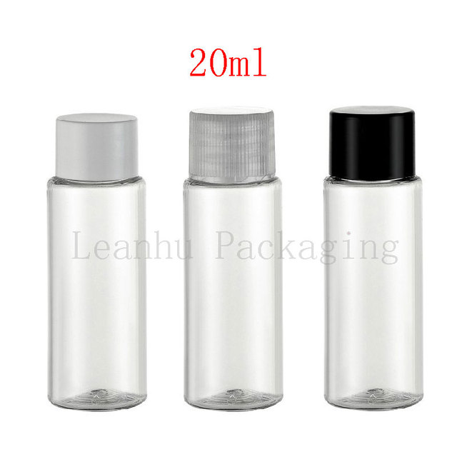 20ml X 100 empty transparent PET plastic small containers bottle with lid cap 20cc cosmetic oil PET bottle lotion bottle