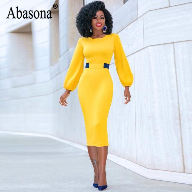 Abasona Yellow Pencil Dress Women O Neck Long Sleeve Split Woman Slim Midi Dress Ladies Fashion Patchwork Elegant Party Dresses 3